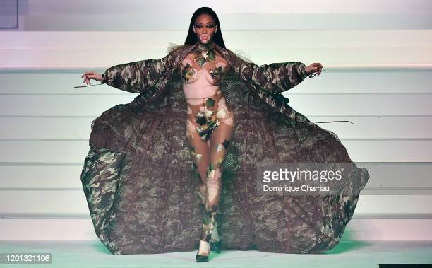 Winnie Harlow walks the runway during the Jean-Paul Gaultier Haute Couture Spring/Summer 2020 show as part of Paris Fashion Week at Theatre Du...