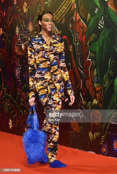 Winnie Harlow walks the runway during the Kenzo Menswear Fall/Winter 2019-2020 show as part of Paris Fashion Week on January 20, 2019 in Paris,...