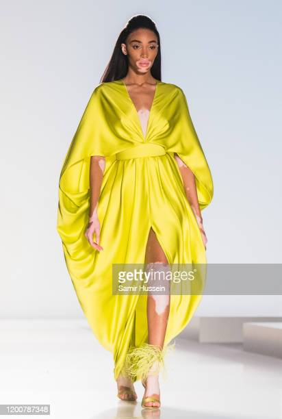 Winnie Harlow walks the runway during the Ralph & Russo Haute Couture Spring/Summer 2020 show as part of Paris Fashion Week on January 20, 2020 in...