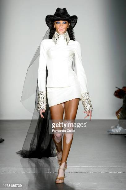 Winnie Harlow walks the runway for Laquan Smith during New York Fashion Week: The Shows on September 08, 2019 in New York City.