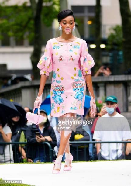 Winnie Harlow walks the runway for Moschino show on September 09, 2021 in New York City.