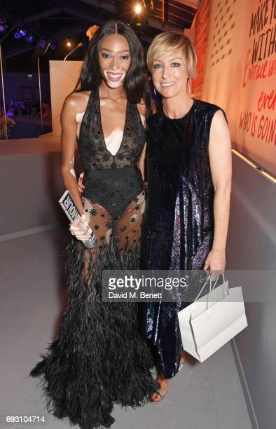 Winnie Harlow winner of the Editor's award and Glamour editor Jo Elvin attend the Glamour Women of The Year Awards 2017 in Berkeley Square Gardens on...