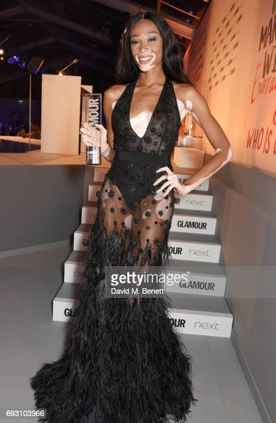 Winnie Harlow winner of the Editor's award attends the Glamour Women of The Year Awards 2017 in Berkeley Square Gardens on June 6 2017 in London...