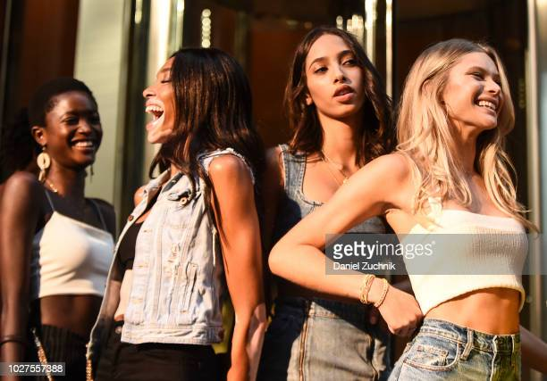 Winnie Harlow Yasmin Wijnaldum and Josie Canseco attend the casting for the 2018 Victoria's Secret Show in Midtown on September 5 2018 in New York...