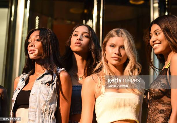 Winnie Harlow Yasmin Wijnaldum Josie Canseco and Danielle Herrington attend the casting for the 2018 Victoria's Secret Show in Midtown on September 5...