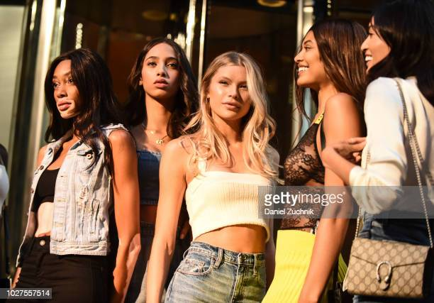 Winnie Harlow Yasmin Wijnaldum Josie Canseco Danielle Herrington and Aqua Parios attend the casting for the 2018 Victoria's Secret Show in Midtown on...