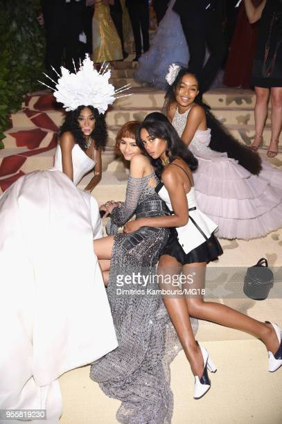 Winnie Harlow Zendaya Laura Harrier and Yara Shahidi attends the Heavenly Bodies Fashion The Catholic Imagination Costume Institute Gala at The...