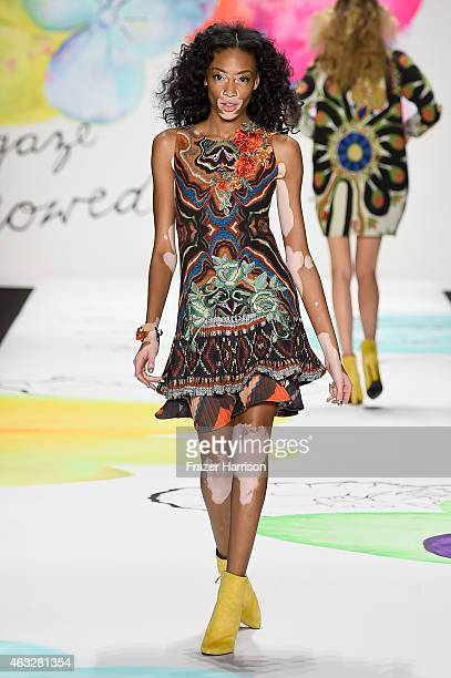 Winnie Harlowl walks the runway at the Desigual fashion show during MercedesBenz Fashion Week Fall 2015 at The Theatre at Lincoln Center on February...