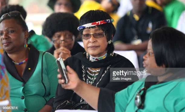 Winnie MadikizelaMandela attends the African National Congress' 98th anniversary celebrations held at the GWK Park Stadium on Saturday 10 January...