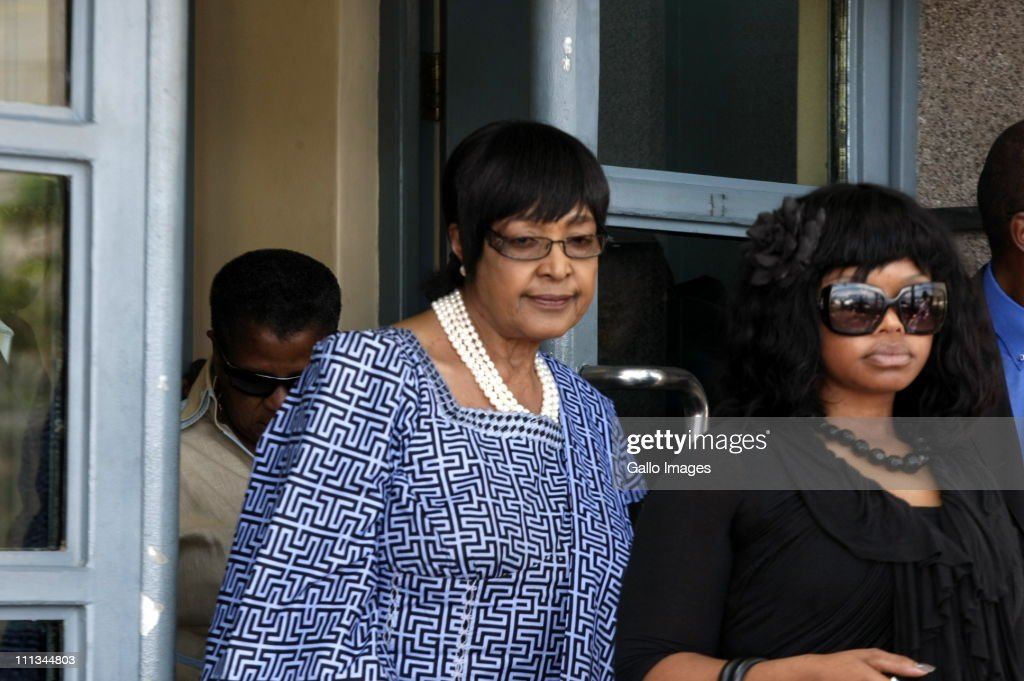 Winnie Madikizela-Mandela leaves the Johannesburg Magistrates Court in Johannesburg, South Africa on 31 March 2011. She attended the trial of Sizwe Mankazana, the driver of the car in which Zenani Mandela was killed.