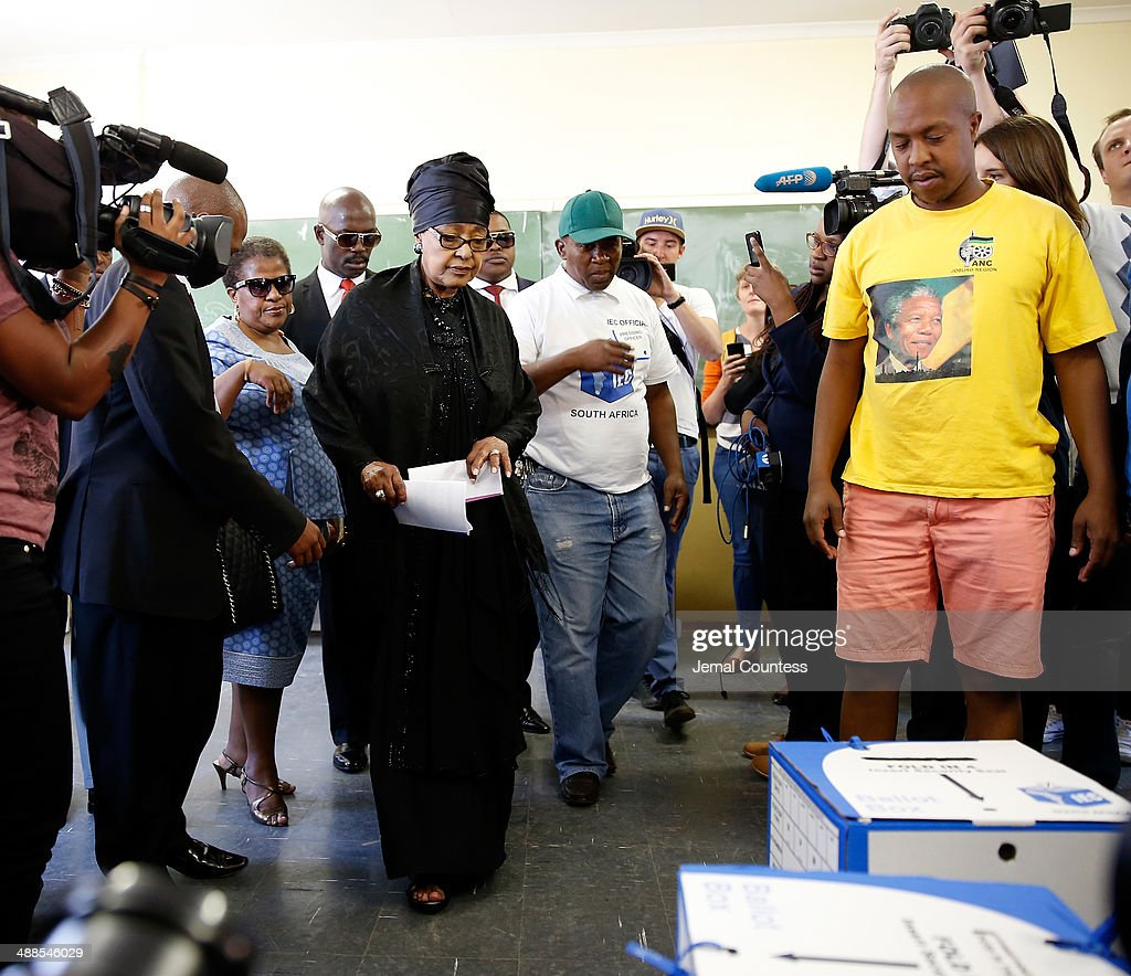 Winnie Madikizela-Mandela prepares to cast her ballot at the Orlando West Voting Station at the Orlando West Secondary School during the 2014 South African General Election on May 7, 2014 in the Soweto Township in Johannesburg, South Africa. Polls have opened in South Africa's fifth general election since the end of apartheid over 20 years ago. President Jacob Zuma is expected to return to power with the ANC party however his election campaign has been marred by allegations of corruption and he is expected to lose some ground to other parties.