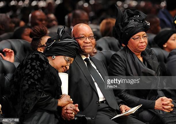 Winnie MadikizelaMandela President Jacob Zuma and Graca Machel during Madiba's State Funeral on December 15 2013 in Qunu South Africa Nelson Mandela...
