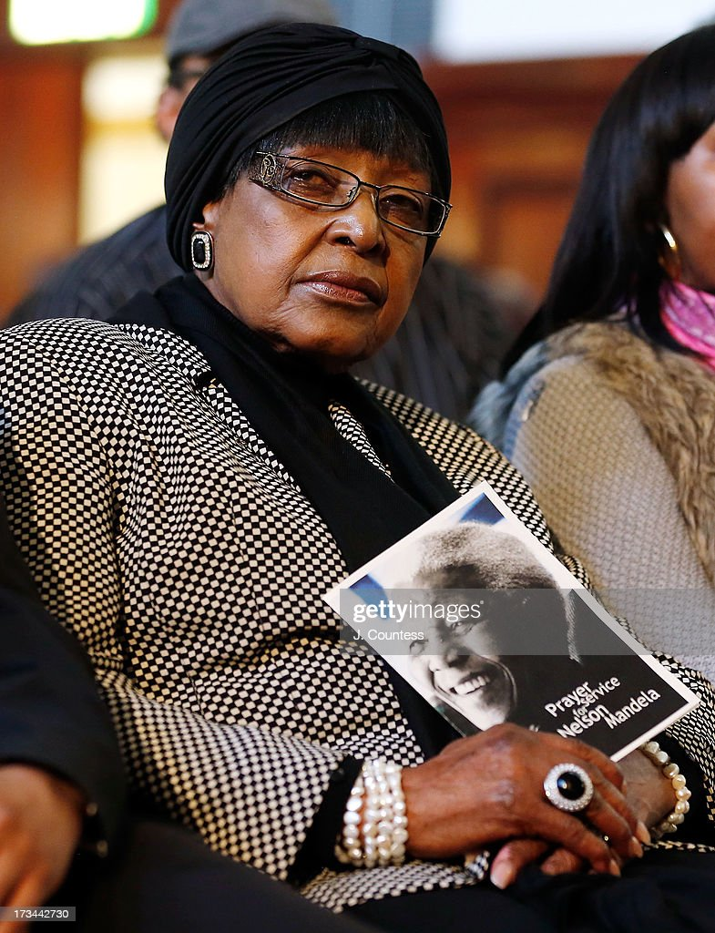 Winnie Madikizela-Mandela the second wife of former South African president Nelson Mandela attends an interfaith prayer service for Former South African President Nelson Mandela at the Johannesburg City Hall on July 14, 2013 in Johannesburg, South Africa. Former President Nelson Mandela has been hospitalized at the Medi-Clinic Hospital in Pretoria since June 8 for treatment for a recurring lung infection.