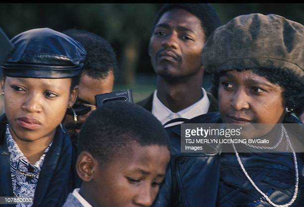 Winnie MadikizelaMandela with her daughter Zindzi Mandela and son the late Makgatho Mandela after visiting Nelson Mandela Victor Verster prison in...