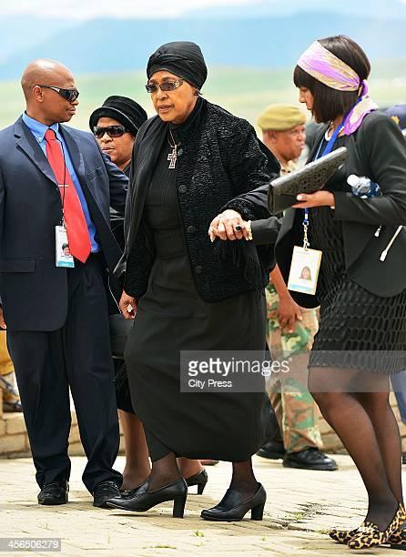 Winnie Mandela and Ndileka Mandela arriving at Mthatha airport ahead of Nelson Mandela's State Funeral on December 14 2013 in Qunu South Africa...