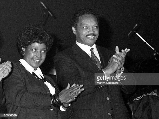Winnie Mandela and Rev Jesse Jackson on stage at the Dance Mandela concert at brixton Academy London United Kingdom 1990