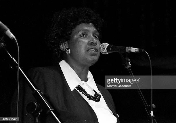 Winnie Mandela appears on stage at the Dance Mandela Concert Brixton Academy London United Kingdom 1990