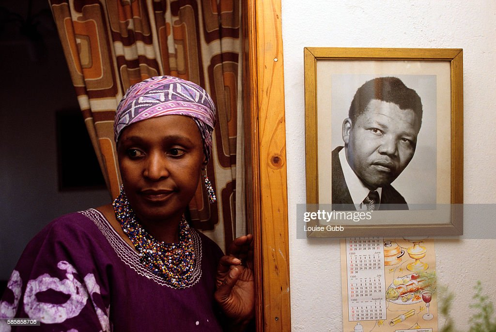 Winnie Mandela defies her ban orders not to return to her home and the picture of her husband Nelson Mandela, a former President of South Africa and longtime political prisoner who was held by the apartheid-based government from 1964-1990 for sabotage. With the coming of a freer political climate, Nelson Mandela was released from his life sentence at Victor Vester Prison on February 11, 1990 and went on to lead the African National Congress in negotiations with President F.W. de Klerk, that resulted in the end of apartheid and full citizenship for all South Africans.