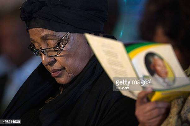Winnie Mandela former wife of Nelson Mandela attends the African National Congress led alliance send off ceremony for former South African President...