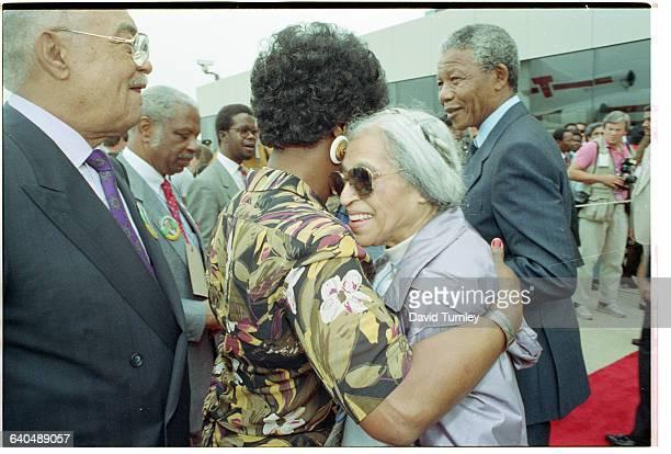 Winnie Mandela Hugging Rosa Parks