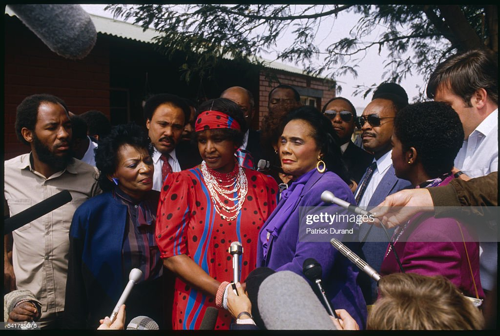 Winnie Mandela and Coretta King at Press Conference : News Photo