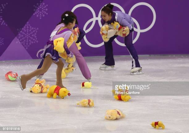 Winnie the Pooh bears are throw for Yuzuru Hanyu of Japan after the Men's Single Free Program on day eight of the PyeongChang 2018 Winter Olympic...