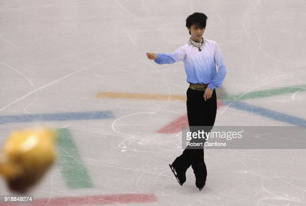 Winnie the Pooh toys are thrown to Yuzuru Hanyu of Japan during the Men's Single Skating Short Program at Gangneung Ice Arena on February 16 2018 in...