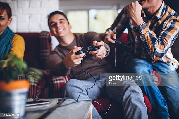 Winning a Video Game in office relax room
