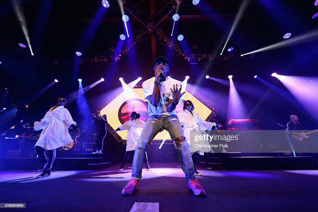GRAMMY winning artist Pharrell (C) performs following the 2015 Pepsi Rookie of the Year Award Ceremony at the 2015 Pepsi Rookie of the Year Award Ceremony at Pepsi Super Friday Night at Pier 70 on February 5, 2016 in San Francisco, California.