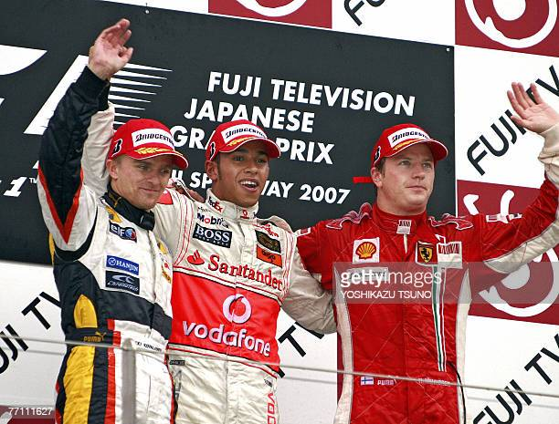 Winning British driver Lewis Hamilton of McLaren Mercedes secondplaced Finnish driver Heikki Kovalainen of Renault and thirdplaced Finnish driver...