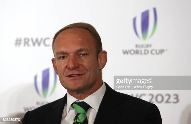 Winning Captain Francois Pienaar during the Rugby World Cup 2023 Bid Presentations event at Royal Garden Hotel on September 25 2017 in London England