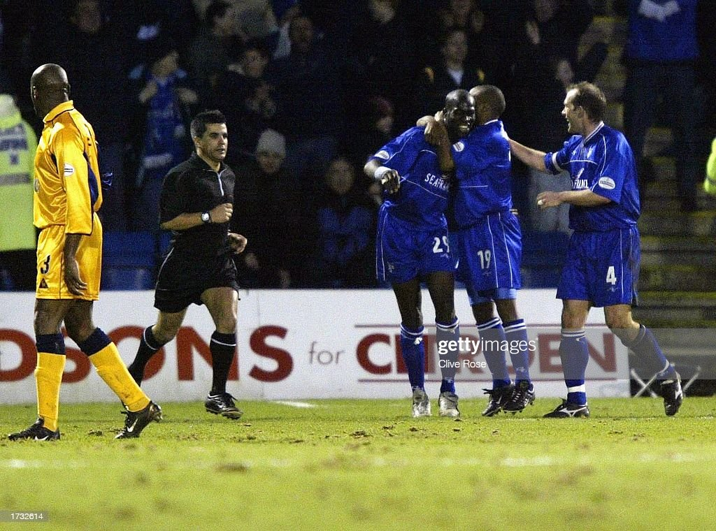 Winning goal scorer Mamady Sidibe celebrates his winning goal during the Nationwide League Division One match between Gillingham and Leicester City at The Priestfield Stadium in Gillingham, England on January 18, 2003.