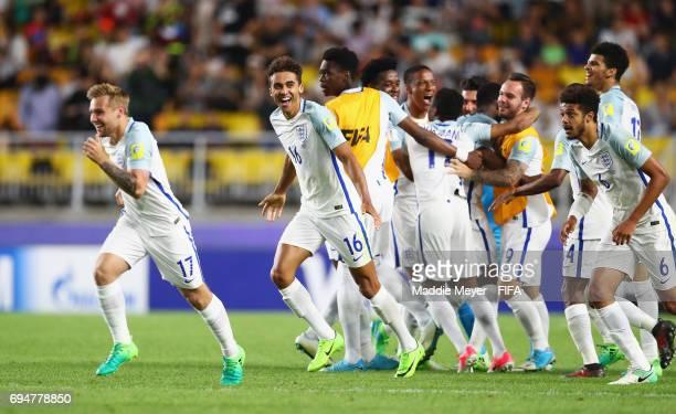 Winning goalscorer Dominic CalvertLewin of England celebrates victory with team mates after the FIFA U20 World Cup Korea Republic 2017 Final between...