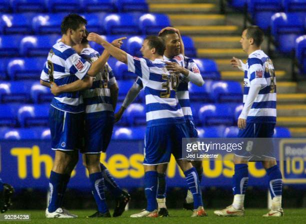 Winning goalscorer Grzegorz Rasiak celebrates withhis team mates at the final whistle during the Coca Cola Championship match between Reading and...