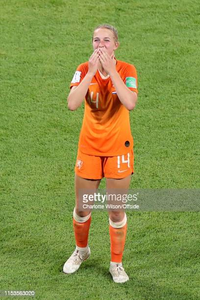 Winning goalscorer Jackie Groenen of the Netherlands celebrates at full time during the 2019 FIFA Women's World Cup France Semi Final match between...