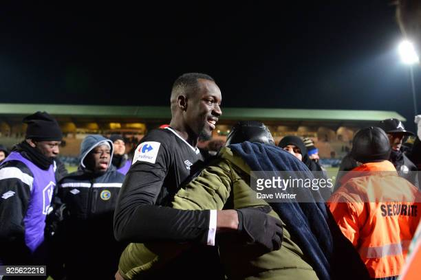 Winning goalscorer Lassana Doucoure of Chambly celebrates after the French Cup match between Chambly and Strasbourg at Stade Pierre Brisson on...