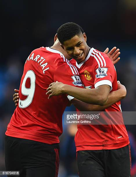 Winning goalscorer Marcus Rashford of Manchester United and team mate Anthony Martial celebrate victory after the Barclays Premier League match...
