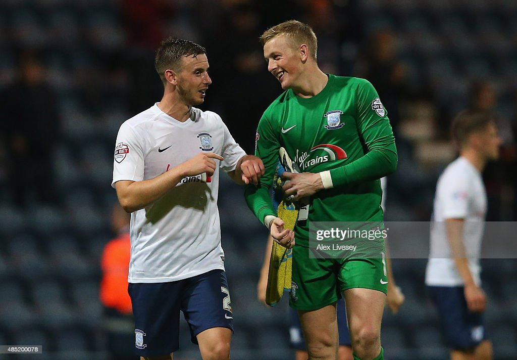 Winning goalscorer Marnick Vermijl of Preston North End jokes with Jordan Pickford after the Capital One Cup Second Round match between Preston North End and Watford at Deepdale on August 25, 2015 in Preston, England.