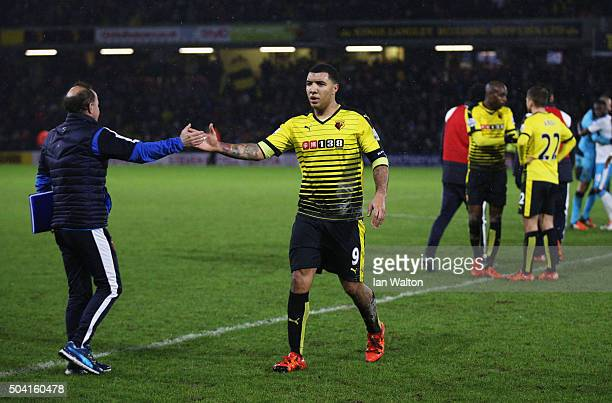 Winning goalscorer Troy Deeney of Watford celebrates after victory in the Emirates FA Cup Third Round match between Watford and Newcastle United at...