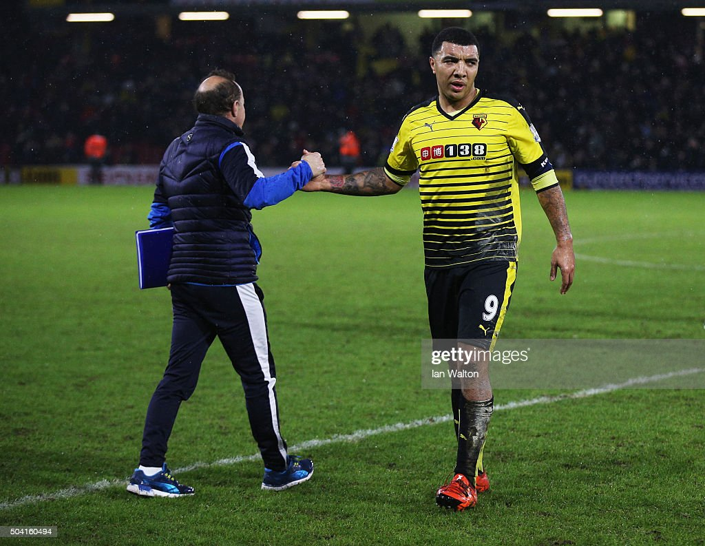 Winning goalscorer Troy Deeney of Watford celebrates after victory in the Emirates FA Cup Third Round match between Watford and Newcastle United at Vicarage Road on January 9, 2016 in Watford, England.