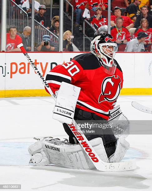 Winning goaltender Martin Brodeur of the New Jersey Devils defends his net during the third period of the game against the Boston Bruins at the...