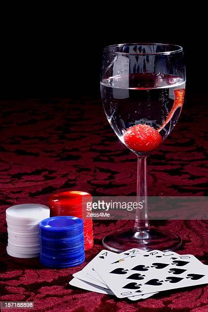 Preisgekrönte high-poker hand und Getränke