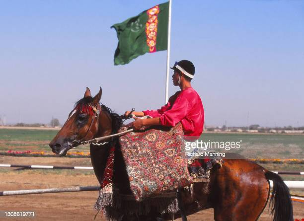 Winning horse and Jockey at a Race Meeting at Ashgabat in Turkmenistan. Although the Turkoman breed of horse was driven almost to a state of...