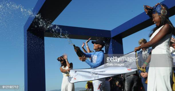 Winning jockey celebrate after the 2018 Sun Met at Kenilworth Racecourse on January 27 2018 in Cape Town South Africa The 134th edition of the Sun...