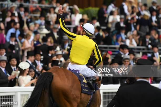 Winning jockey James Doyle and Big Orange celebrates after winning the Gold Cup on Day Three of Royal Ascot at Ascot Racecourse on June 22 2017 in...
