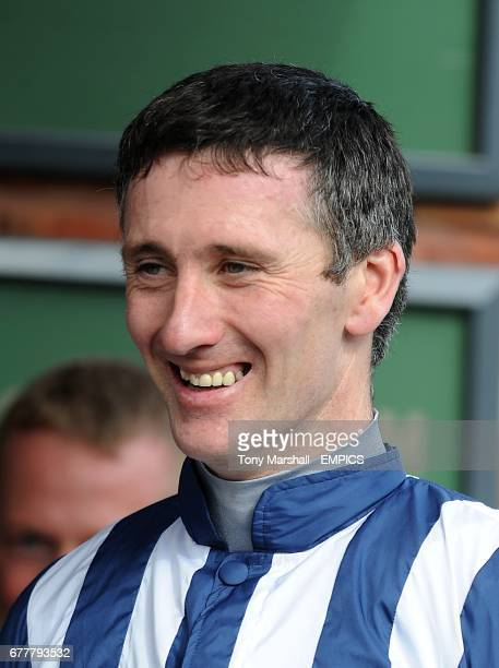 Winning jockey John Thomas McNamara during the trophy presentation after Teaforthree wins the Diamond Jubilee National Hunt Chase during the...