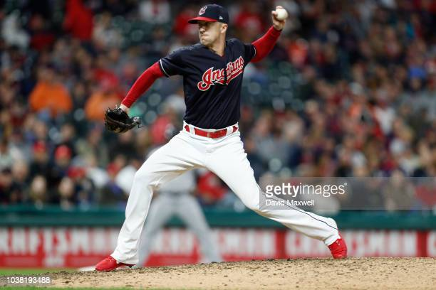 Winning pitcher Tyler Olson of the Cleveland Indians pitches against the Boston Red Sox in the tenth inning at Progressive Field on September 22 2018...