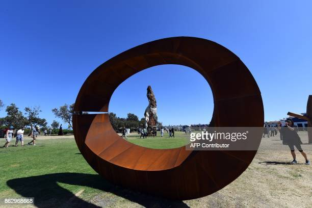 A winning sculpture by David Ball is seen as part of the 'Sculpture by the Sea' exhibition near Bondi beach in Sydney on October 19 2017 The...
