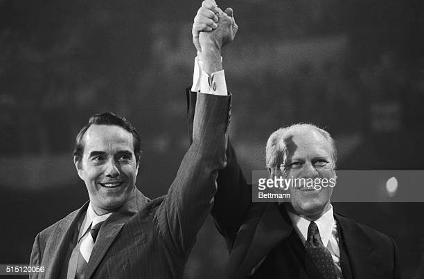 Winning team President Gerald Ford and his running mate Senator Robert Dole of Kansas face their supporters at closing session of the 1976 GOP...