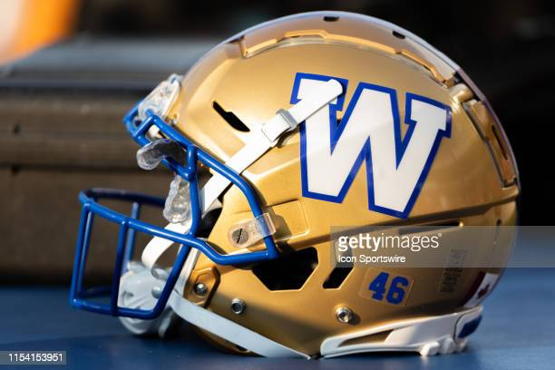 Winnipeg Blue Bombers helmet on the sidelines during Canadian Football League action between the Winnipeg Blue Bombers and Ottawa Redblacks on July 5...